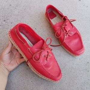 Tory Burch Red Leather Espadrille Loafer Flats S4